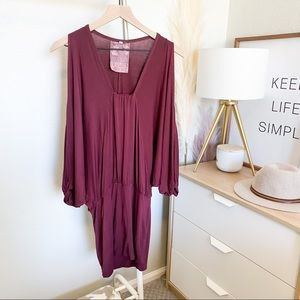 Young Fabulous and Broke Ruched Maroon Mini dress